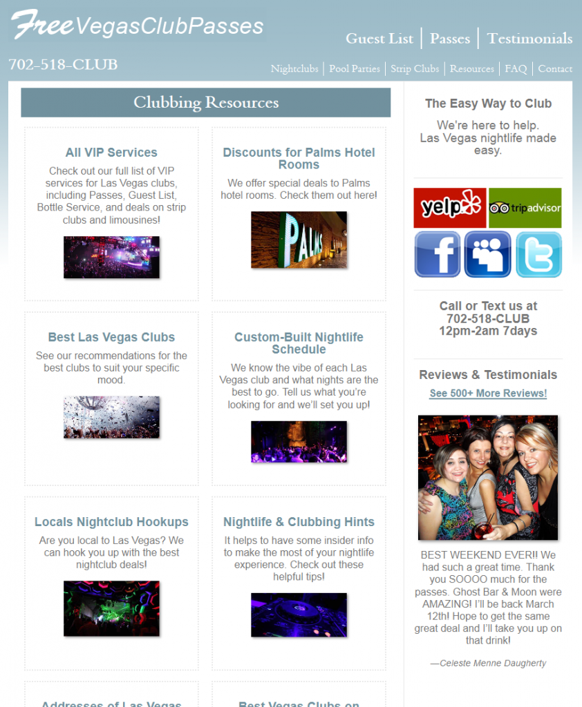 Free Vegas Club Passes Resources Page (Aug 2011)