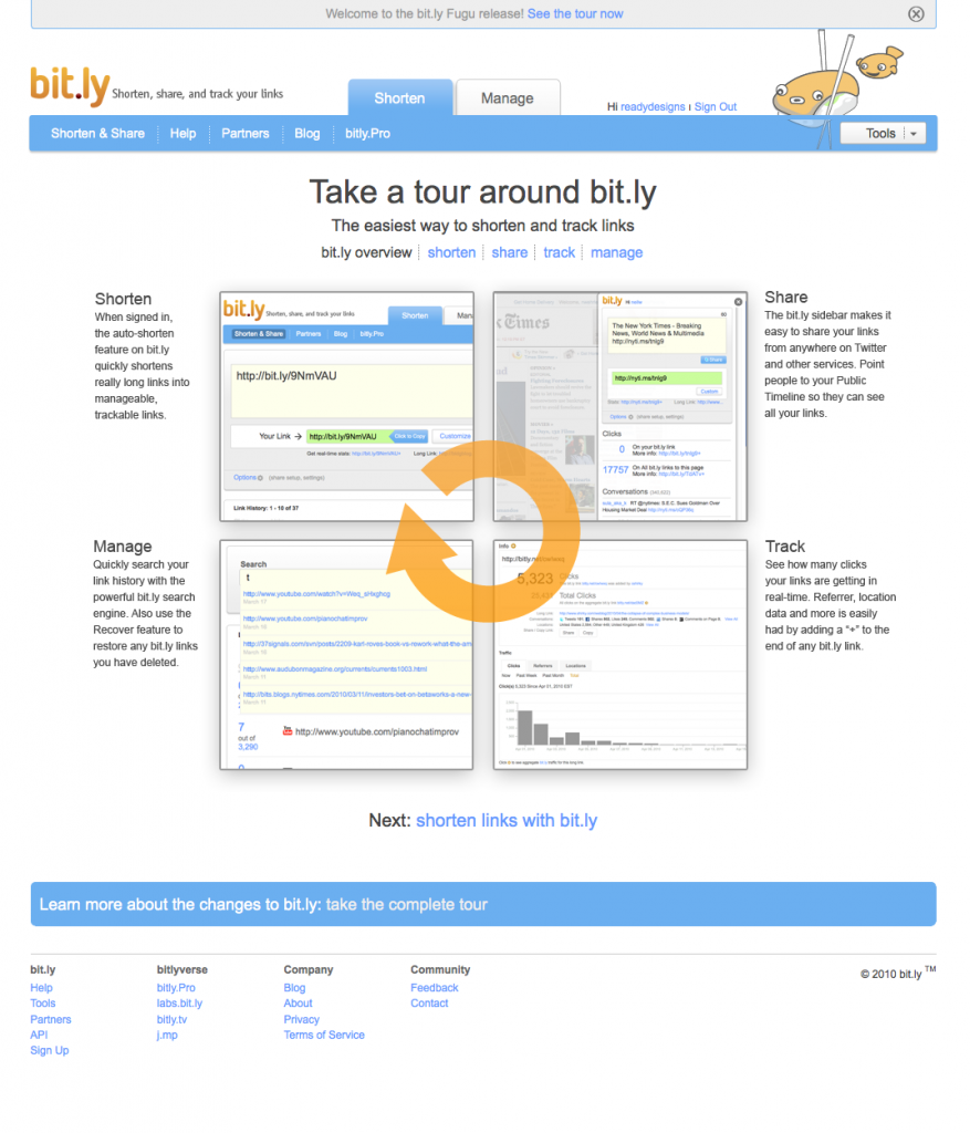 Bit.ly Tour Screenshot, Redesign May 2010
