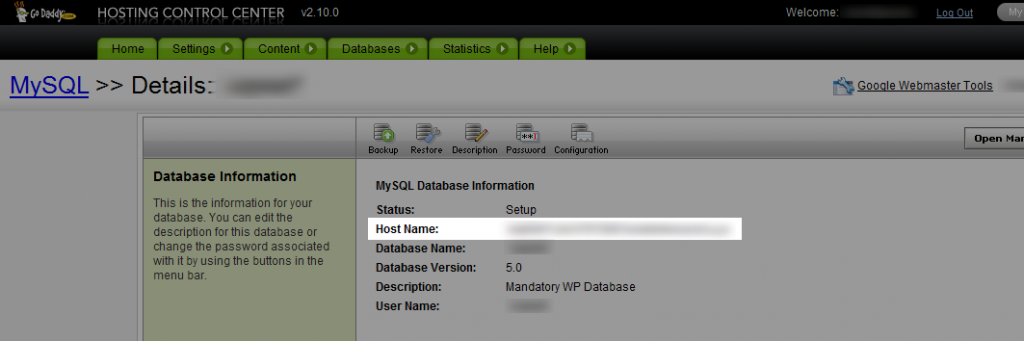 Where to Find Your Database Host Name