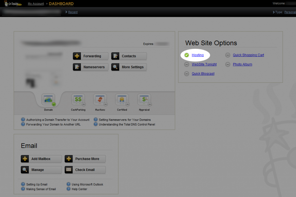 Purchasing Web Hosting From the Dashboard