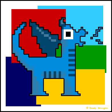8-Bit Blue Dragon on Colorful Blocks