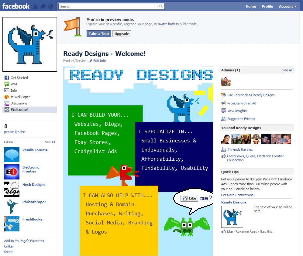 Facebook Pages New Layout, Feb. 2011