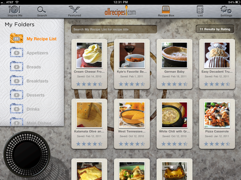 AllRecipes for iPad, Recipe Box