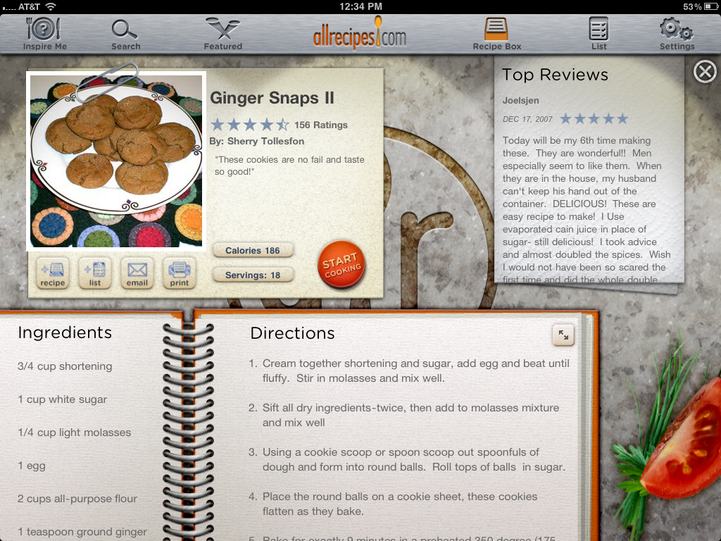 AllRecipes for iPad, Recipe Overview