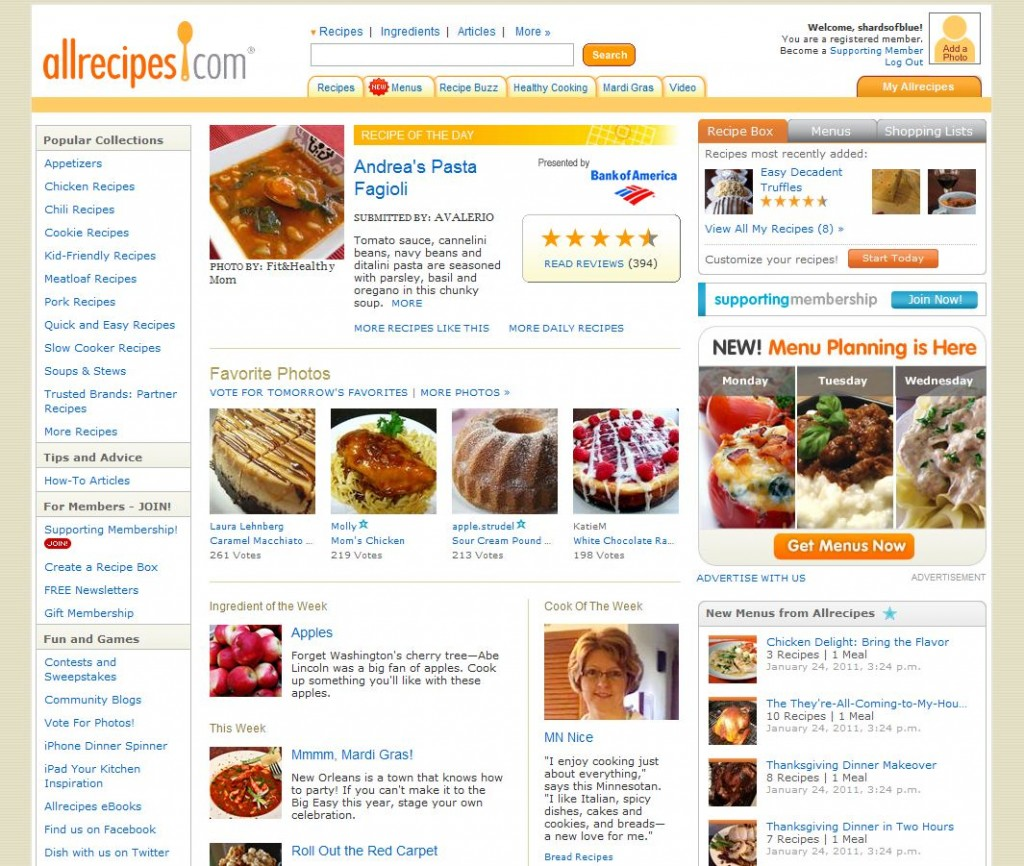 AllRecipes Website Homepage