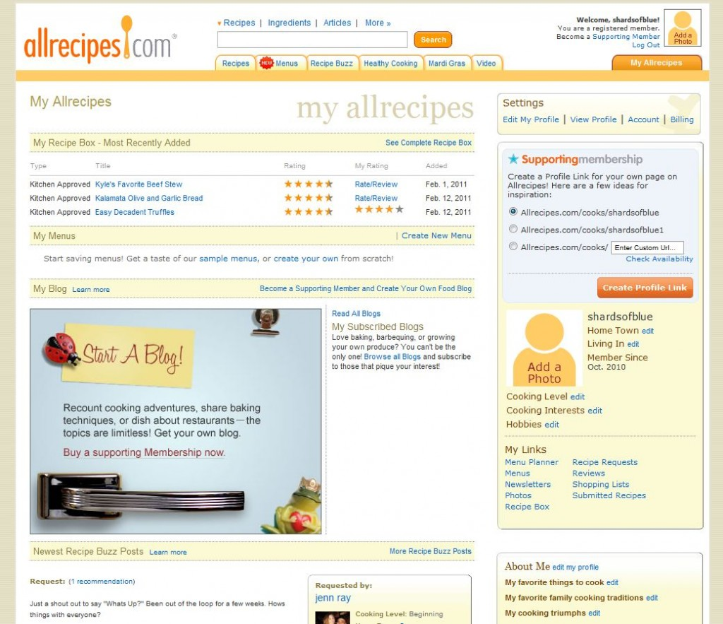AllRecipes Website, My AllRecipes Page
