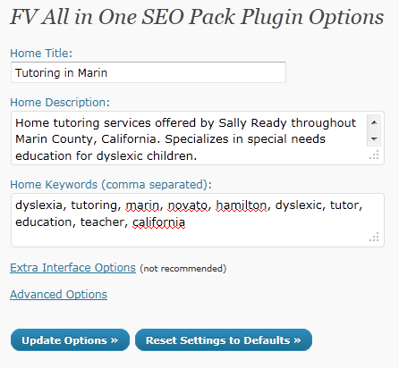 FV All in One SEO Pack Dashboard