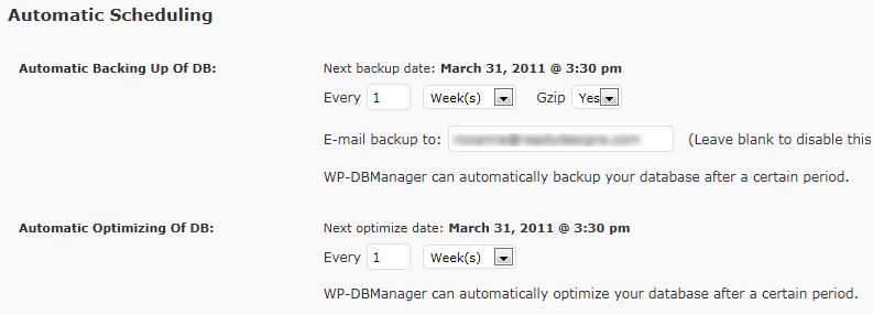 WP-DBManager Scheduling Options