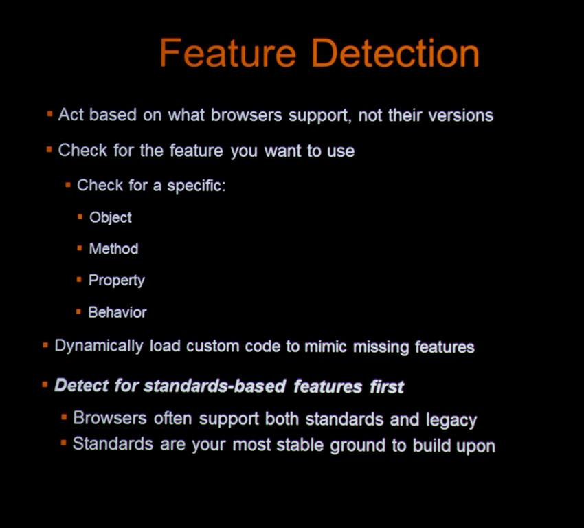 Benefits of Feature Detection