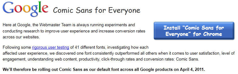 Google Chrome: Comic Sans for Everyone!