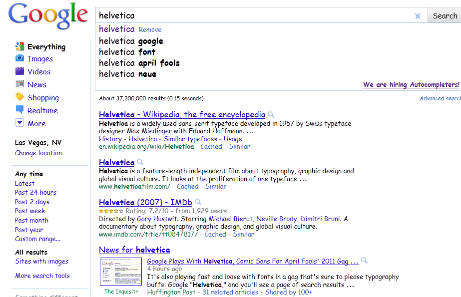 Google Helvetica Search Results