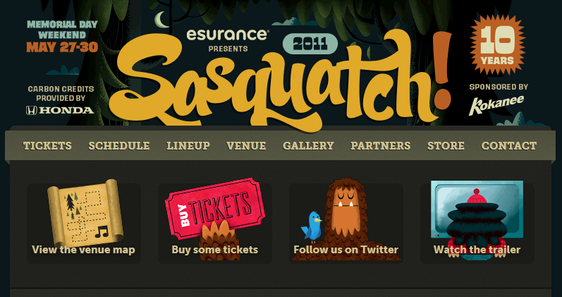 Sasquatch Festival CSS3 Media Queries Columns Example