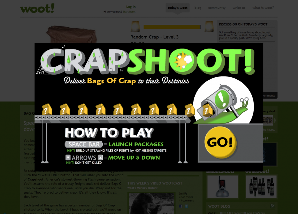 Woot April Fool's Joke, 2011: Crapshoot Game