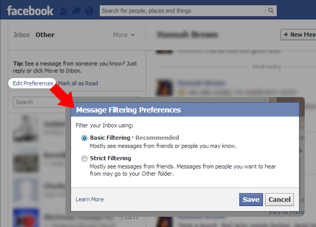 Facebook Automatic Message Filtering
